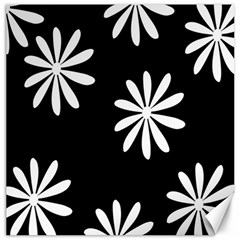 Black White Giant Flower Floral Canvas 16  X 16   by Alisyart