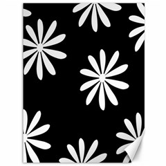Black White Giant Flower Floral Canvas 36  X 48   by Alisyart