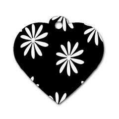 Black White Giant Flower Floral Dog Tag Heart (two Sides) by Alisyart