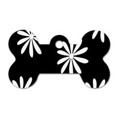 Black White Giant Flower Floral Dog Tag Bone (one Side) by Alisyart
