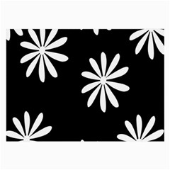 Black White Giant Flower Floral Large Glasses Cloth (2 Side) by Alisyart
