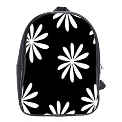 Black White Giant Flower Floral School Bags(large)  by Alisyart