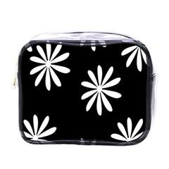 Black White Giant Flower Floral Mini Toiletries Bags by Alisyart