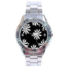 Black White Giant Flower Floral Stainless Steel Analogue Watch by Alisyart