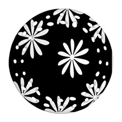 Black White Giant Flower Floral Ornament (round Filigree) by Alisyart
