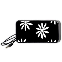 Black White Giant Flower Floral Portable Speaker (black) by Alisyart