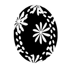 Black White Giant Flower Floral Oval Filigree Ornament (two Sides) by Alisyart