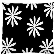 Black White Giant Flower Floral Large Cushion Case (one Side) by Alisyart