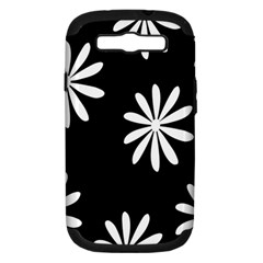 Black White Giant Flower Floral Samsung Galaxy S Iii Hardshell Case (pc+silicone) by Alisyart