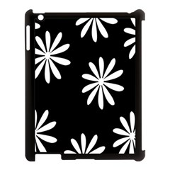 Black White Giant Flower Floral Apple Ipad 3/4 Case (black) by Alisyart
