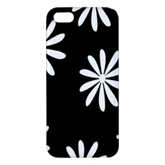Black White Giant Flower Floral Apple Iphone 5 Premium Hardshell Case by Alisyart