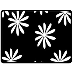 Black White Giant Flower Floral Double Sided Fleece Blanket (large)  by Alisyart