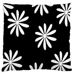 Black White Giant Flower Floral Standard Flano Cushion Case (one Side) by Alisyart