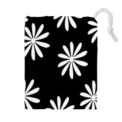 Black White Giant Flower Floral Drawstring Pouches (extra Large) by Alisyart
