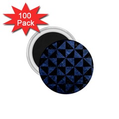 Triangle1 Black Marble & Blue Stone 1 75  Magnet (100 Pack)  by trendistuff