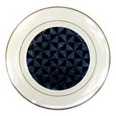 Triangle1 Black Marble & Blue Stone Porcelain Plate by trendistuff