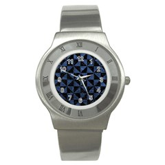 Triangle1 Black Marble & Blue Stone Stainless Steel Watch by trendistuff