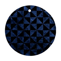 Triangle1 Black Marble & Blue Stone Round Ornament (two Sides) by trendistuff