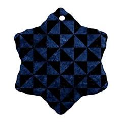 Triangle1 Black Marble & Blue Stone Ornament (snowflake) by trendistuff