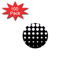 Circle Masks White Black 1  Mini Magnets (100 Pack)  by Alisyart