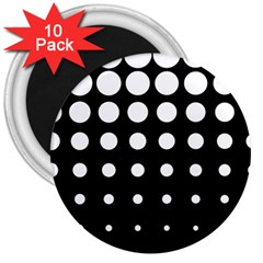 Circle Masks White Black 3  Magnets (10 Pack)  by Alisyart