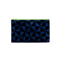 Triangle1 Black Marble & Blue Stone Cosmetic Bag (xs) by trendistuff