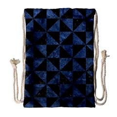 Triangle1 Black Marble & Blue Stone Drawstring Bag (large) by trendistuff