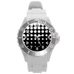 Circle Masks White Black Round Plastic Sport Watch (l) by Alisyart