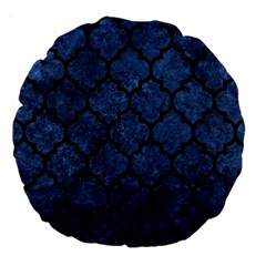 Tile1 Black Marble & Blue Stone (r) Large 18  Premium Round Cushion  by trendistuff