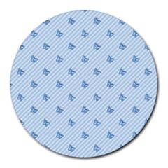 Blue Butterfly Line Animals Fly Round Mousepads