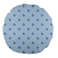 Blue Butterfly Line Animals Fly Large 18  Premium Round Cushions by Alisyart