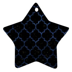 Tile1 Black Marble & Blue Stone Star Ornament (two Sides) by trendistuff
