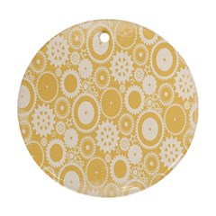 Wheels Star Gold Circle Yellow Ornament (round) by Alisyart