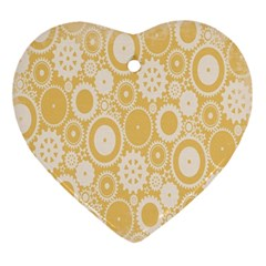 Wheels Star Gold Circle Yellow Ornament (heart) by Alisyart
