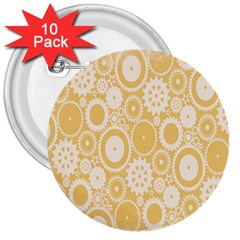 Wheels Star Gold Circle Yellow 3  Buttons (10 Pack)  by Alisyart