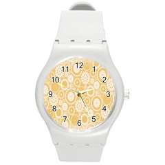 Wheels Star Gold Circle Yellow Round Plastic Sport Watch (m) by Alisyart