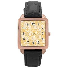 Wheels Star Gold Circle Yellow Rose Gold Leather Watch  by Alisyart