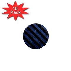 Stripes3 Black Marble & Blue Stone (r) 1  Mini Magnet (10 Pack)  by trendistuff