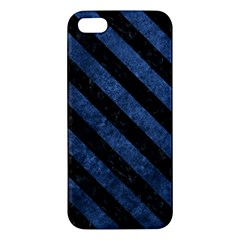 Stripes3 Black Marble & Blue Stone (r) Apple Iphone 5 Premium Hardshell Case by trendistuff