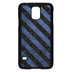 Stripes3 Black Marble & Blue Stone (r) Samsung Galaxy S5 Case (black) by trendistuff
