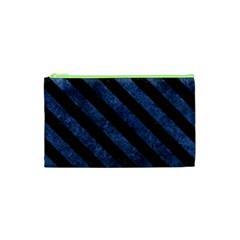Stripes3 Black Marble & Blue Stone (r) Cosmetic Bag (xs) by trendistuff