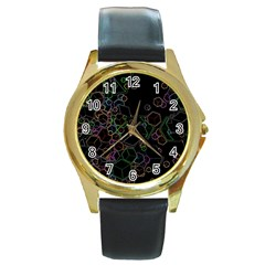 Boxs Black Background Pattern Round Gold Metal Watch by Simbadda