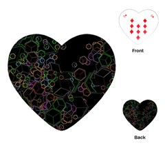 Boxs Black Background Pattern Playing Cards (heart)  by Simbadda