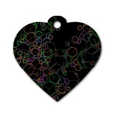 Boxs Black Background Pattern Dog Tag Heart (one Side) by Simbadda