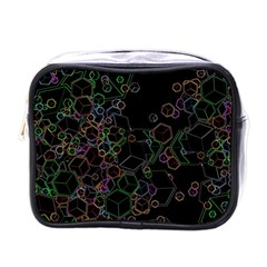 Boxs Black Background Pattern Mini Toiletries Bags by Simbadda