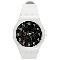 Boxs Black Background Pattern Round Plastic Sport Watch (m) by Simbadda