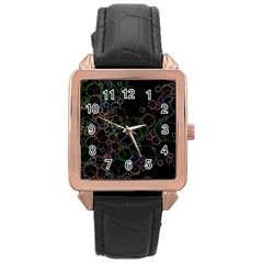 Boxs Black Background Pattern Rose Gold Leather Watch  by Simbadda