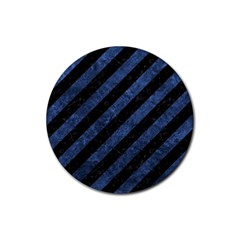 Stripes3 Black Marble & Blue Stone Rubber Round Coaster (4 Pack) by trendistuff