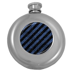 Stripes3 Black Marble & Blue Stone Hip Flask (5 Oz) by trendistuff