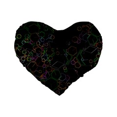 Boxs Black Background Pattern Standard 16  Premium Flano Heart Shape Cushions by Simbadda